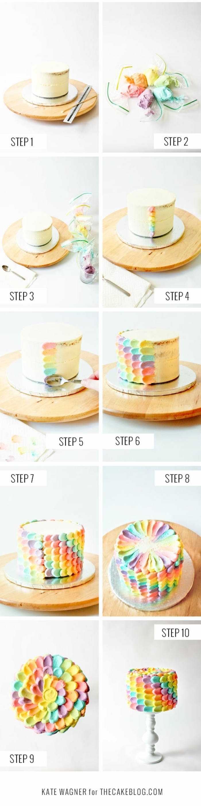 pasos sobre como decorar una tarta con manga pastelera, ideas de tartas ricas y faciles de preparar para un cumpleaños