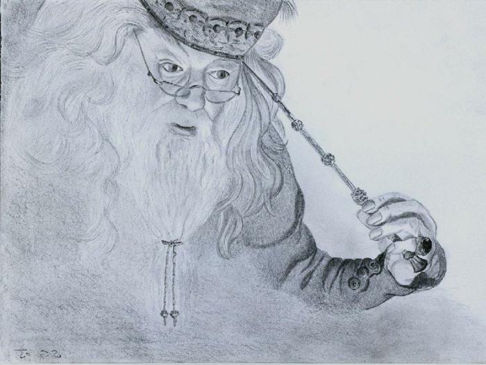 precioso dibujo de Dumbledore a lápiz, ideas de dibujos inspiradores y faciles de hacer, dibujos para avanzados, dibujos de harry potter