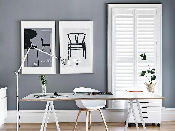 despacho-en-casa en estilo nordico decorado en blanco y gris, las mejores ideas sobre como amueblar tu oficina en casa