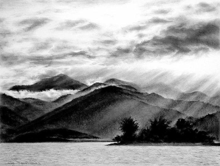 paisajes a carboncillo que enamoran, las mejores ideas de dibujos bonitos hecho con carbón, ideas de dibujos originales