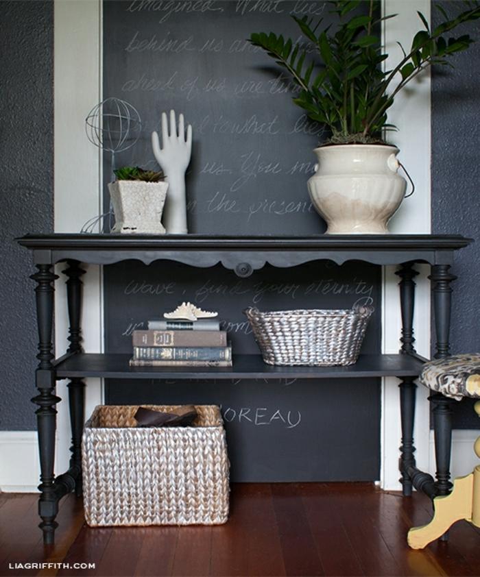 ideas de decoracion de casa, paredes pintadas con pintura a la tiza, originales ideas para decorar la casa, fotos de decoracion
