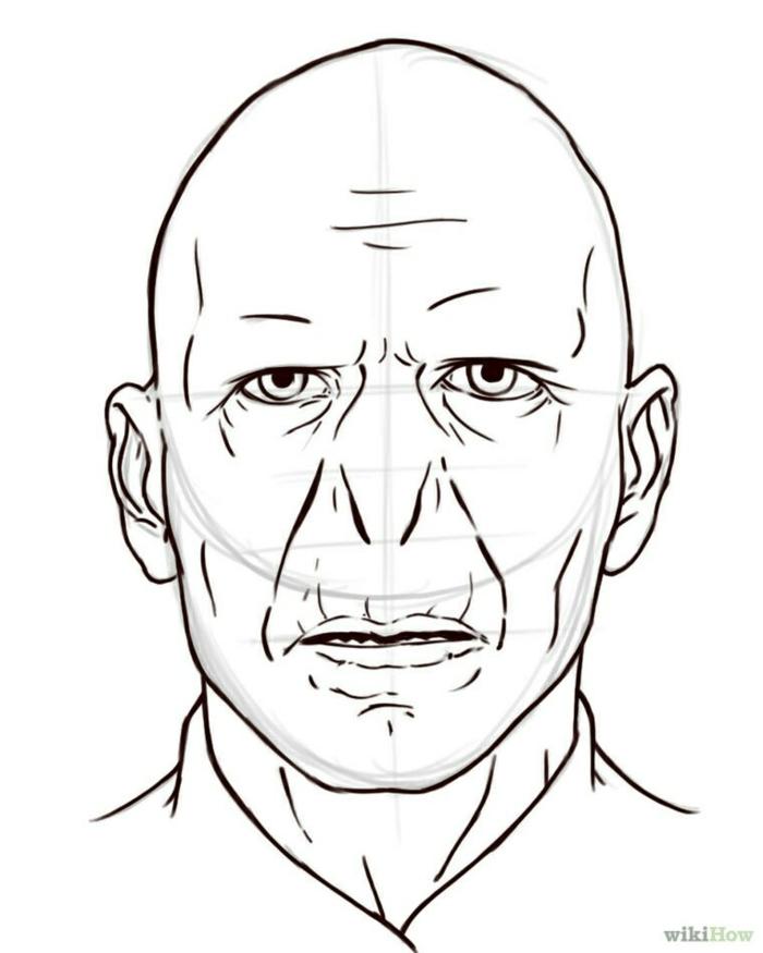como dibujar la cara de Voldemort paso a paso, ideas de dibujos simples y facules de hacer, dibujos originales en fotos