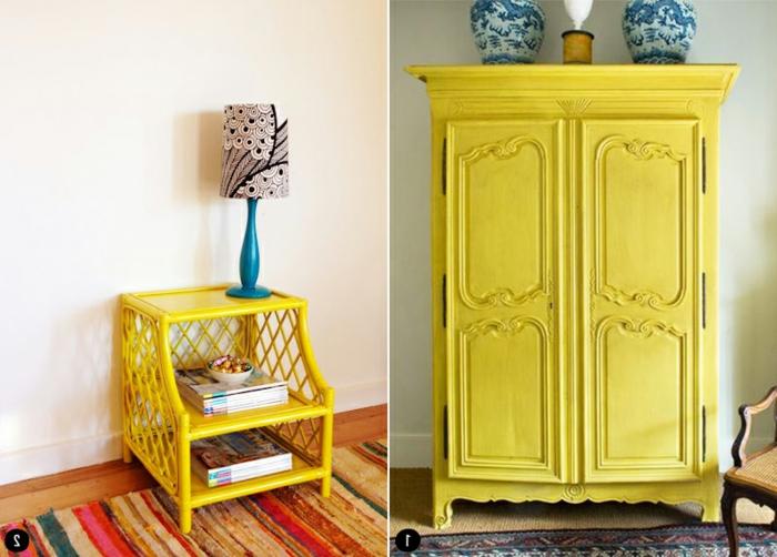 pintar muebles en colores bonitos, ideas para pintar los muebles en tu salon para conseguir un toque vintage, fotos de muebles pintados