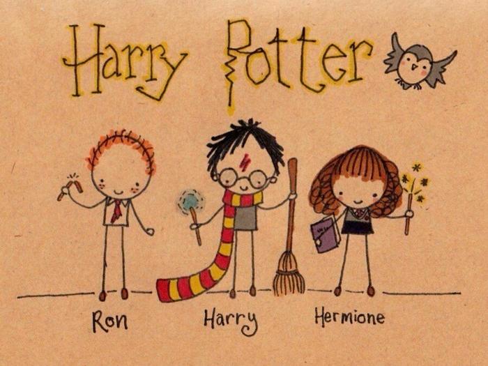 grandes ideas y dibujos originales de Harry Potter, fotos de dibujos con pequeños detalles inspiradoss en Harry Potter