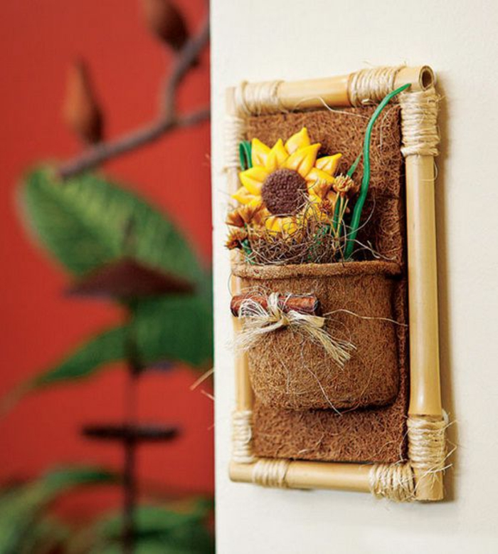 decoracion bonita en la pared, ideas de detalles decorativos faciles y bonitos, decoracion con bambu bonita y creativa
