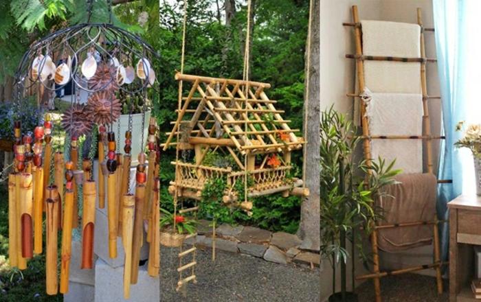 bonitas ideas para decorar el jardin, detalles decorativsos para decorar la casa, fotos de decoracion casera de madera y bambu