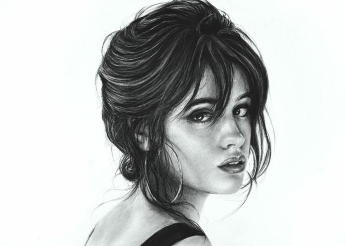 dibujos a carboncillo de mujeres, retratos de muejres hermosos, ideas de dibujos realistas bonitos en fotos hermosas