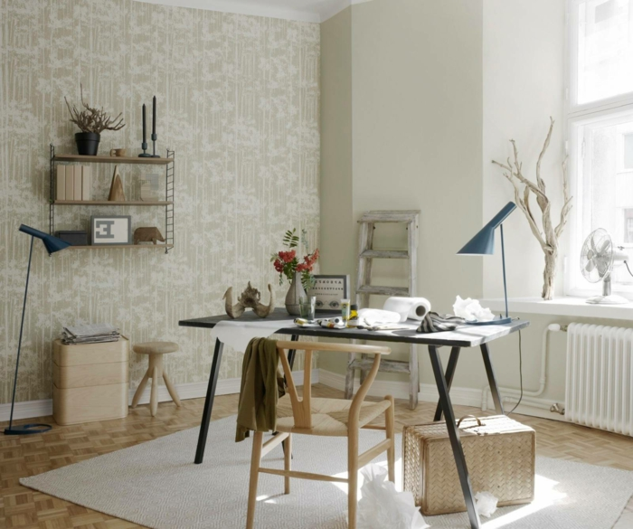 bonita habitacion decorada en blanco y beige, mesa escritorio ikea en color negro, fotos de despachos modernos y funcionales