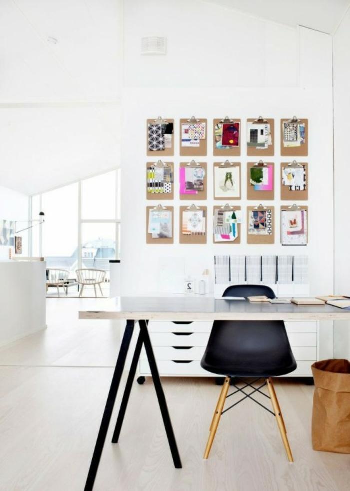 decoracion oficina en colores claros con detalles decorativos en la pared, trucos para organizar bien tu sitio de trabajo en casa