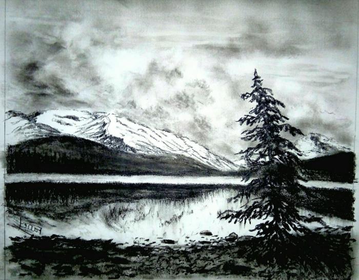 paisajes al carboncillo bonitos y faciles de hacer, dibujos en blanco y negro, dibujos faciles de hacer, fotos de paisajes en blanco y negro