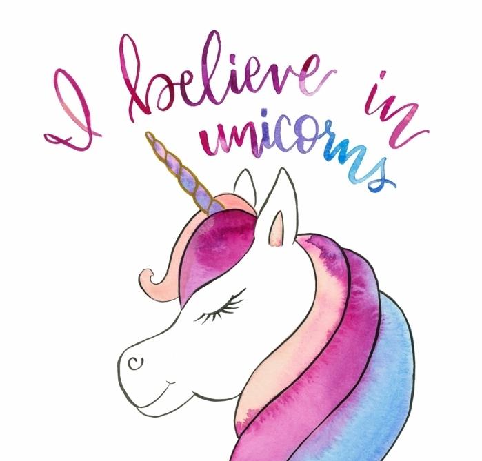 unicornio para dibujar en acuarelas, bonitas ideas de dibujos en acuarelas originales, dibujar un unicornio paso a paso
