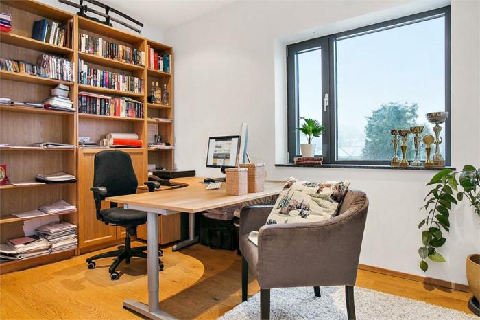 despacho decorado con muebles mdoernos y funcionales, mesa escritorio ikea en color negro, fotos de oficinas casa