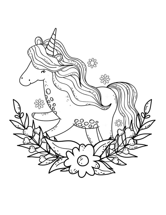 fantasticas ideas de dibujos para colorear de unicornios, unicornio con melena larga y motivos florales, fotos de dibujos