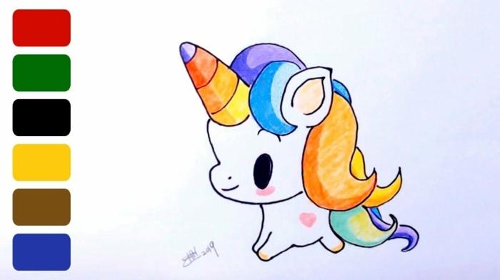 fotos de dibuos de unicornios simpaticos en bonitos colores, dibujos a lapiz faciles, dibujos kawaii para colorear, dibujos en blanco y negro, dibujos faciles de hacer