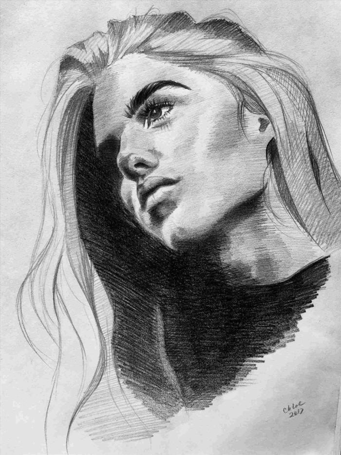 retratos de mujeres chulos, dibujos de paisajes, dibujos realistas, ideas de dibujos de mujeres bonitos, fotos de dibujos