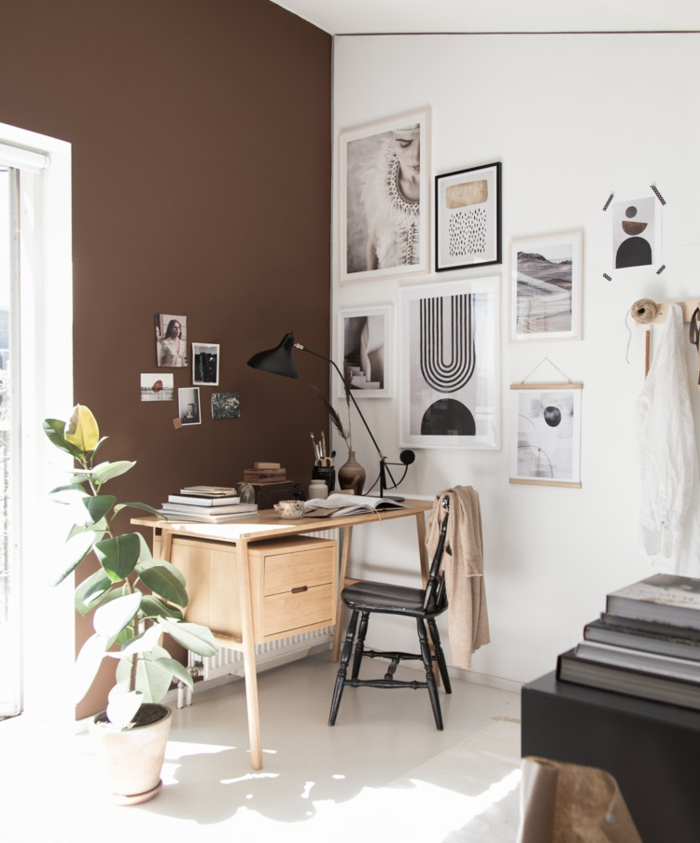 bellas fotografias de decoracion despacho en casa, pared en color marron, ideas sobre como organizar tu trabajo desde casa
