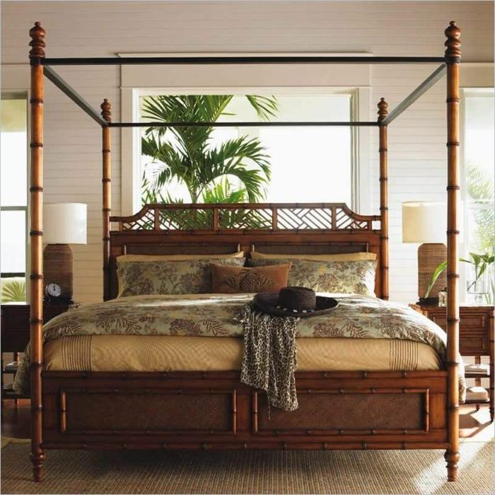 bonita cama hecha de bambu, ideas para decorar tu dormitorio, fotos de camas de bambu en estilo zen para inspirarte