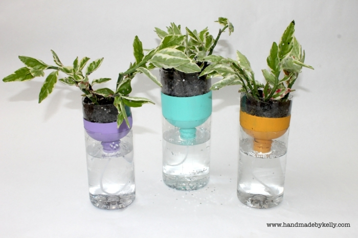 geniales ideas de mini macetas inteligentes, manualidades con botellas de plastico para niños y adultos en fotos bonitas
