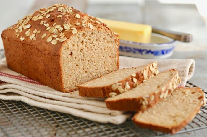 pan sin gluten con copos de avena, ideas de recetas caseras originales y faciles de hacer en casa, receta de pan casero esponjoso