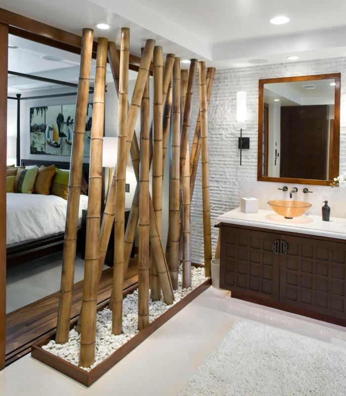 ideas para decorar el dormitorio, separadores de ambientes de bambu para decorar tu dormitorio, separar el espacio en tu casa