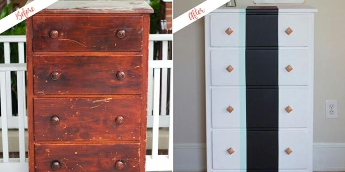 muebles pintados a la tiza antes y despues, geniales ideas de decoracion con tiza para dar un toque original a tu salon