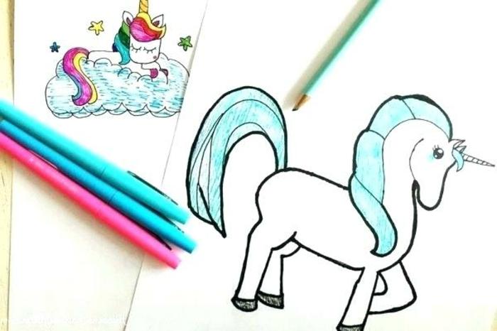 ideas para dibujar y colorear un unicornio, fotos de dibujos chulos y bonitos, dibujos para colorear de unicornios, como dibujar un unicornio