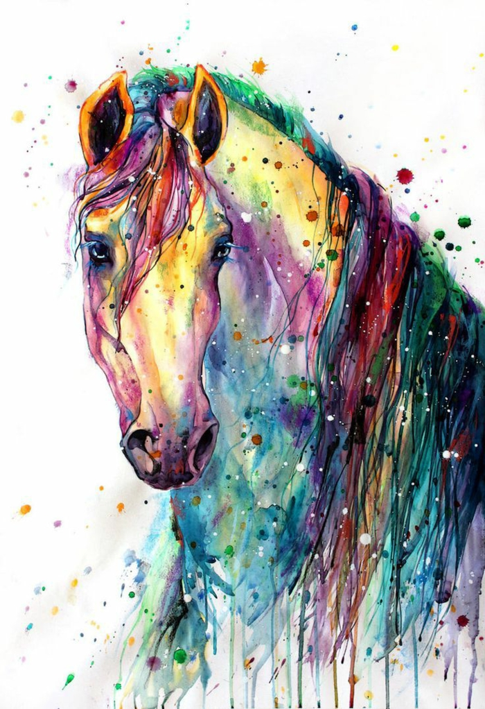 alcuinantes ideas de dibujos en colores pastel, dibujo de conejo en colores del arco iris, dibujos de unicornios para pintar