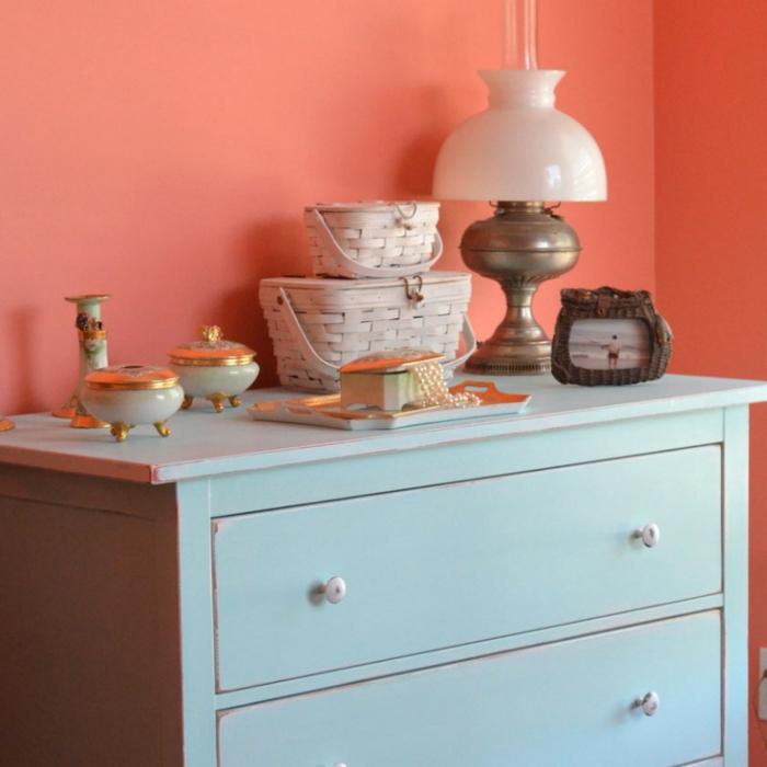 ideas para decorar una habiacion en estilo vintage, como pintar un mueble de madera de otro color, ideas decoracion vintage