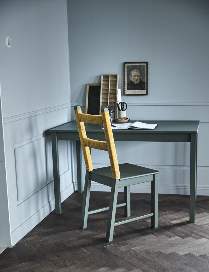 ideas para organizar un despacho en casa en estilo vintage, muebles pintados en bonitos colores, fotos de muebles pintados