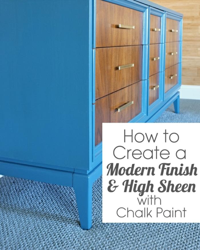 pintar un armario en color azul con acabado mate, ideas decorativas para la casa, fotos de decoraciones caseras en estilo vintage