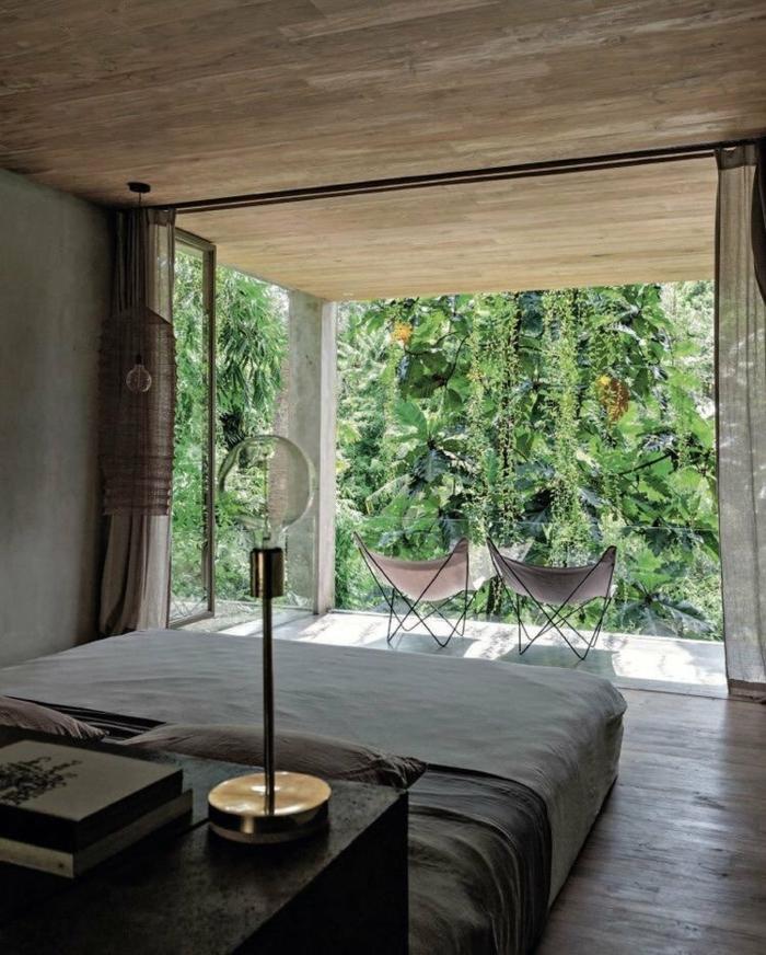 adorable dormitorio con un aire zen, idea de decoracion de habitaciones de bambu, cañas bambu decoracion en fotos