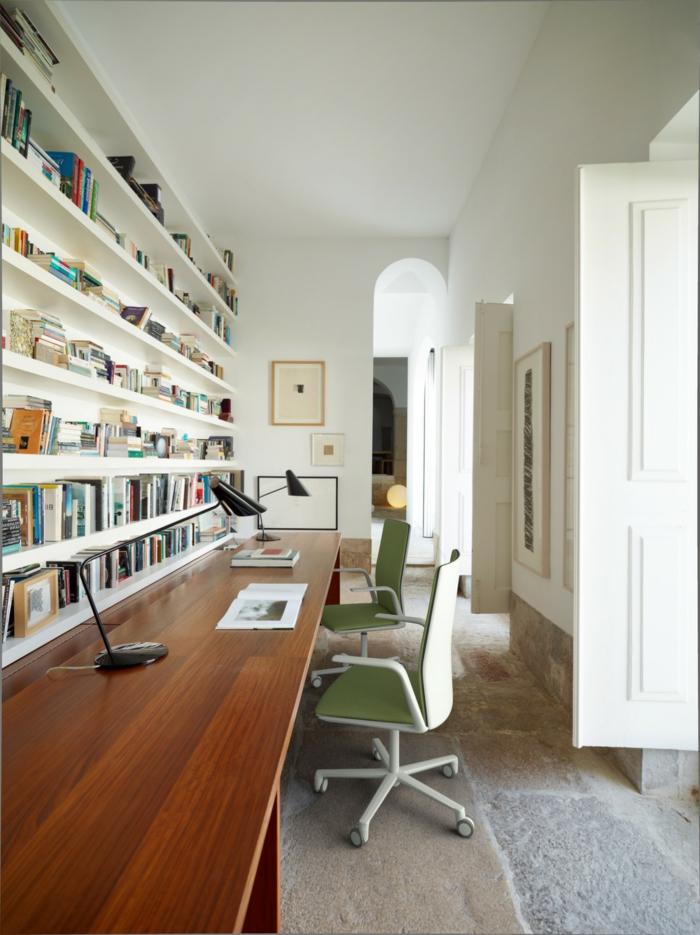 grande biblioteca con barra larga para leer y trabajr, las mejores propuestas para decorar tu despacho, mesa escritorio ikea