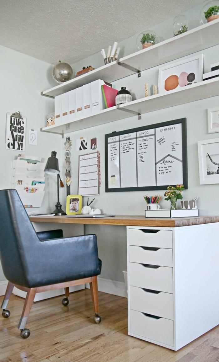 pequeños despacho en el dormitorio,mesa escritorio ikea, fotos con ideas sobre como organizar tu oficina en casa