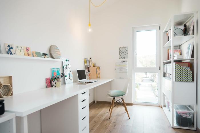 ideas para decorar una oficina en blanco, estilo nordico, espacios decorados para teletrabajar, ideas para organizar una oficina en casa