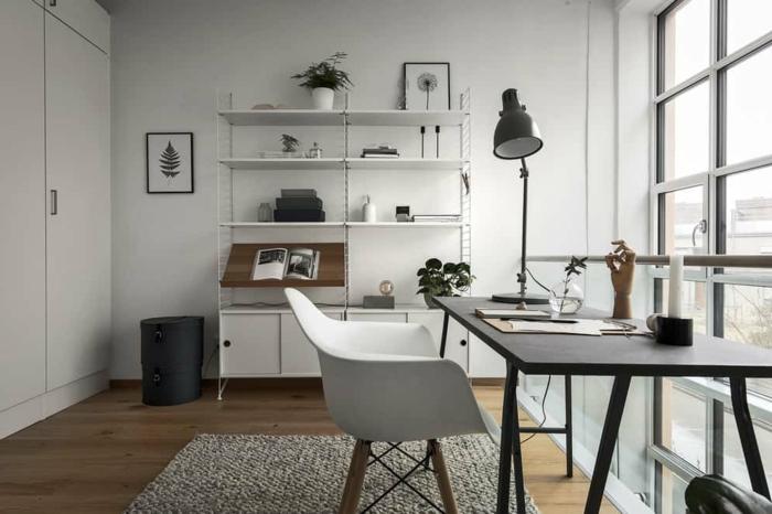 habitacion despacho decorada con blanco y negro. ideas sobre como organizar una oficina en casa en tu dormitorio
