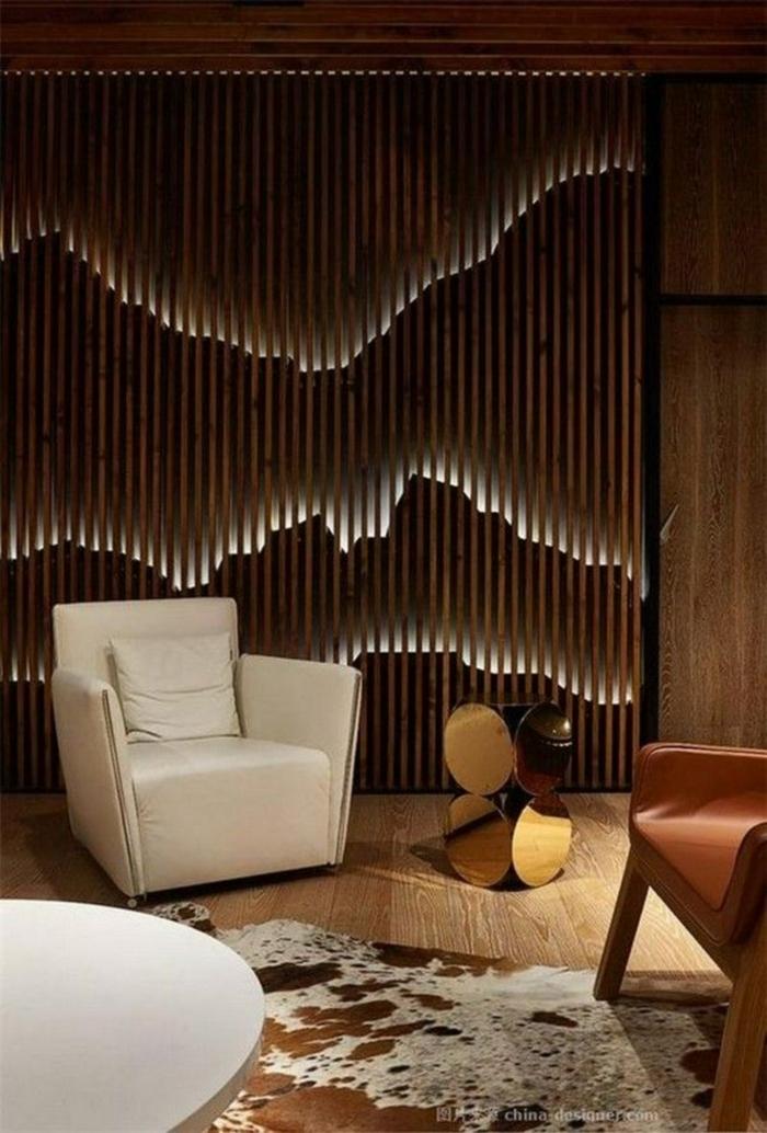 ideas para decorar tu interior con bambu, cañas de bambu decoracion, salón decorado en bonitos colores con separador de ambientes
