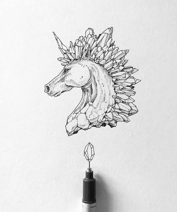 las fotos mas bonitas de dibujos de unicornios, ideas para aprender a dibujar, fotos de dibujos sencillos simbolicos