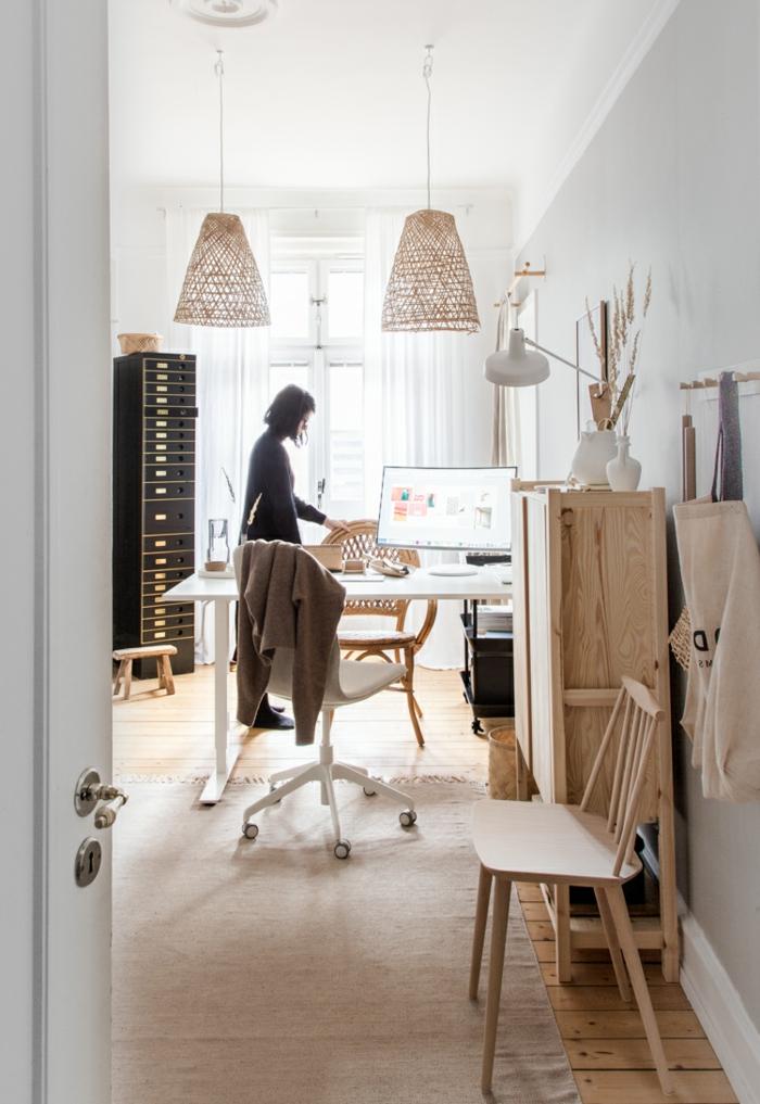 ideas para decorar la casa, fotos de mesa oficina blanca, despacho decorado en beige con muebles de madera, oficinas modernas en fotos