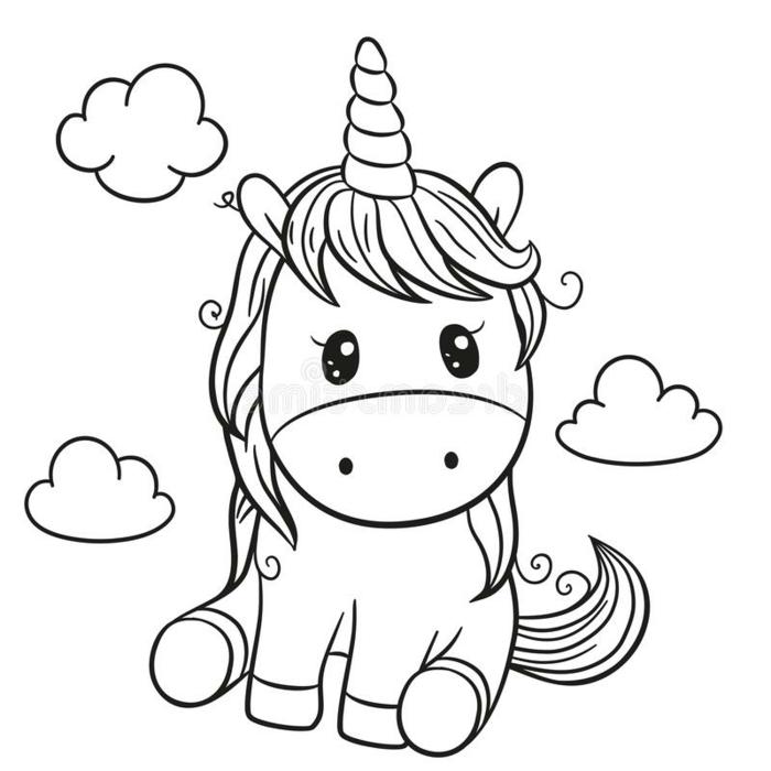 ideas chulas de dibujos para colorear, dibujos kawaii de unicornios, unicornio para pintar, unicornio dibujo facil, dibujo colorear unicornio