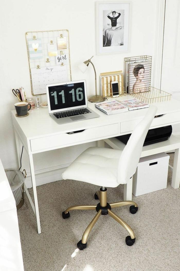 bonito despacho decorado en blanco,mesa oficina blanca, ideas para decorar un rincon en casa para trabajar, fotos de oficinas en casa