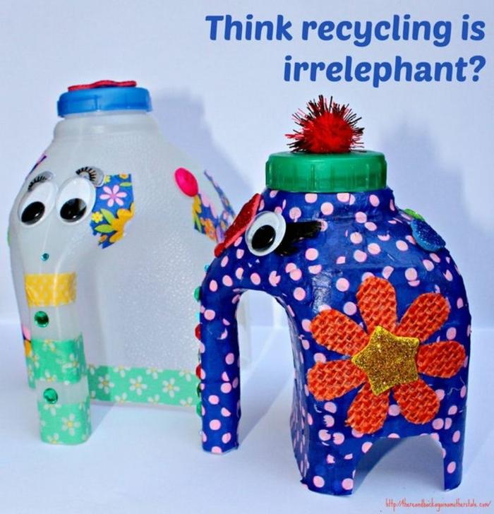 elefantes de botellas de plastico recicladas, botellas de plastico decoradas, juguetes para los mas pequeños hechos a mano