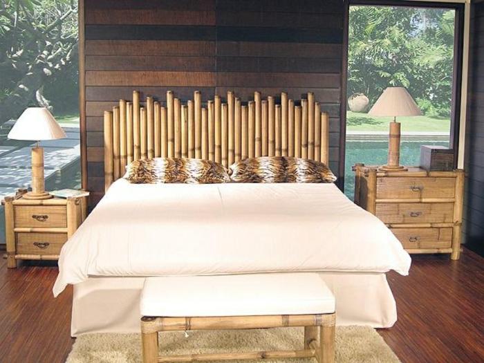 geniales ideas sobre como decorar la casa con palos de bambu, cabecero de bambu para un dormitorio en estilo zen