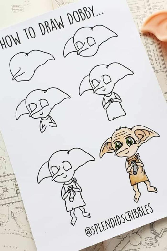 como dibujar a dobby paso a paso, dibujos de harry potter faciles, como dibujar a harry potter, ideas de dibujos chulos