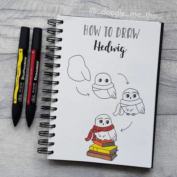 como dibujar al buho hedwig paso a paso, dibujos de harry potter faciles, como dibujar a harry potter, alucinantes ideas de dibujos