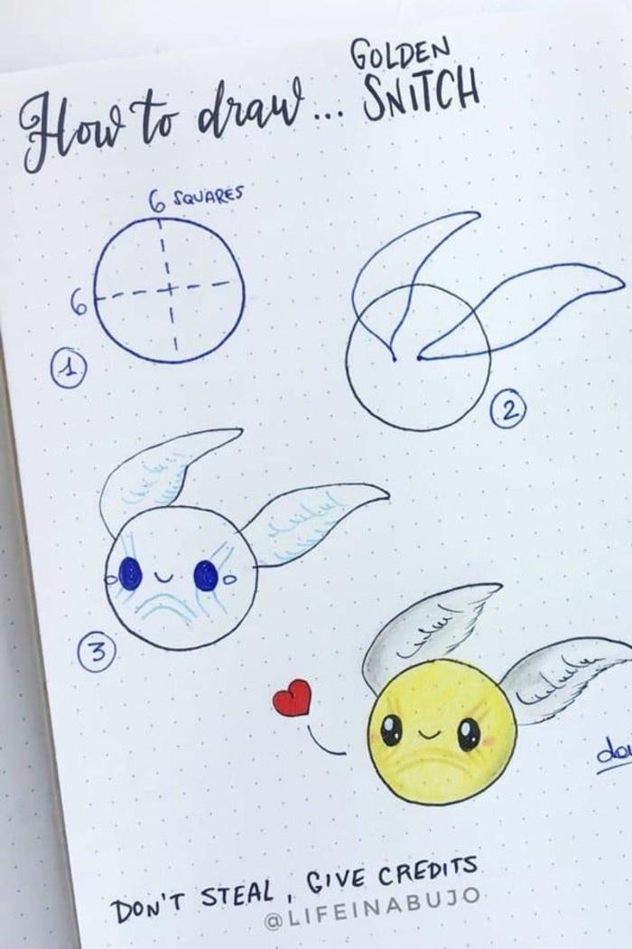 fenomenales ideas sobre como dibujar un snich de oro, dibujos de harry potter faciles, como dibujar a harry potter, fotos de dibujos