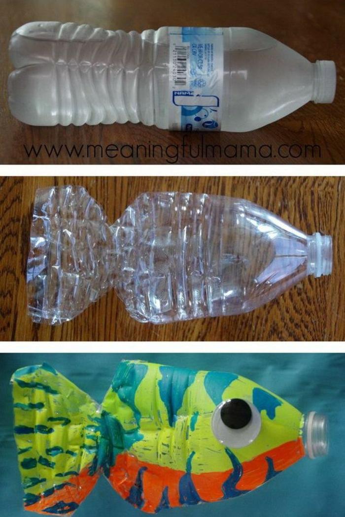 botella decorada, ideas de manualidades infantiles originales, botellas de plastico decoradas para pequeños y adultos