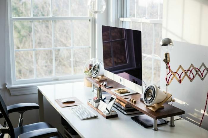 geniales ideas sobre como organizar tu pequeña oficina en casa, escrtorio moderno con estanteria, mesa oficina blanca