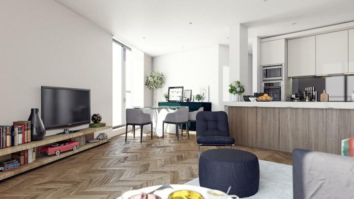 grande salon decorado en colores terrestres con zona para trabajar, ideas de mesa oficina blanca, fotos de decoracion casa