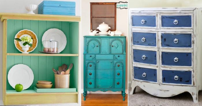 tres ejemplos de muebles decorados en estlo vintage, muebles pintados a la tiza antes y despues, fotos con ideas sobre como restaurar muebles antiguos