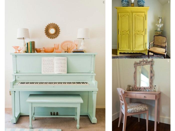 tres ejemplos de muebles de epoca pintados con chalk paint, decoracion de espacios vintage, muebles pintados a la tiza antes y despues